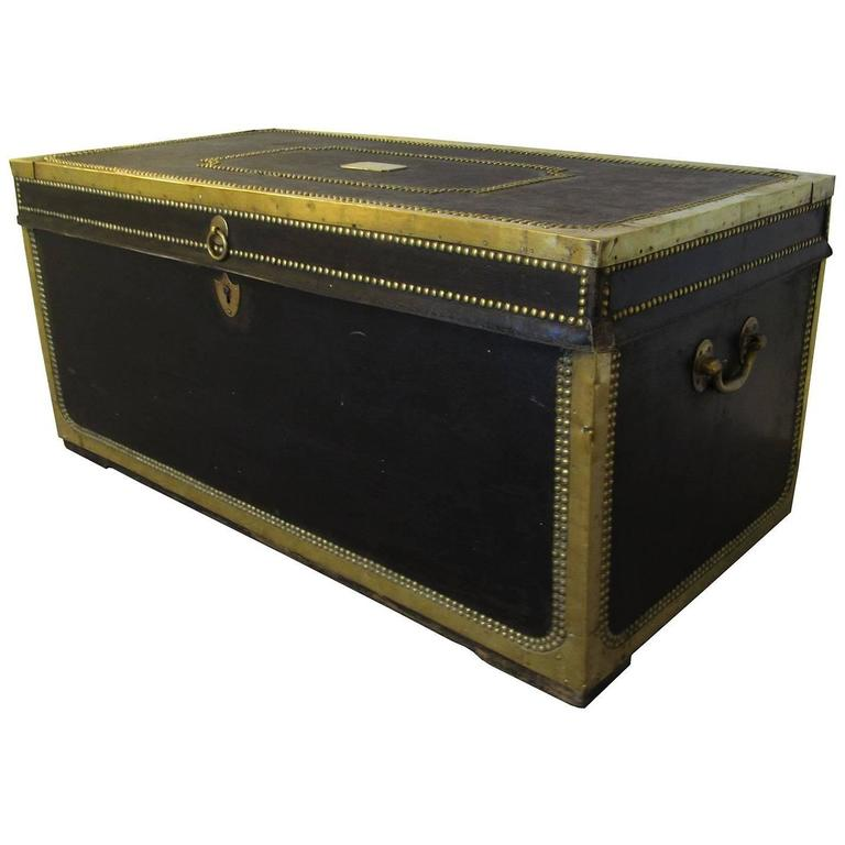 19th Century China Trade Leather and Brass Banded Camphor Wood Trunk