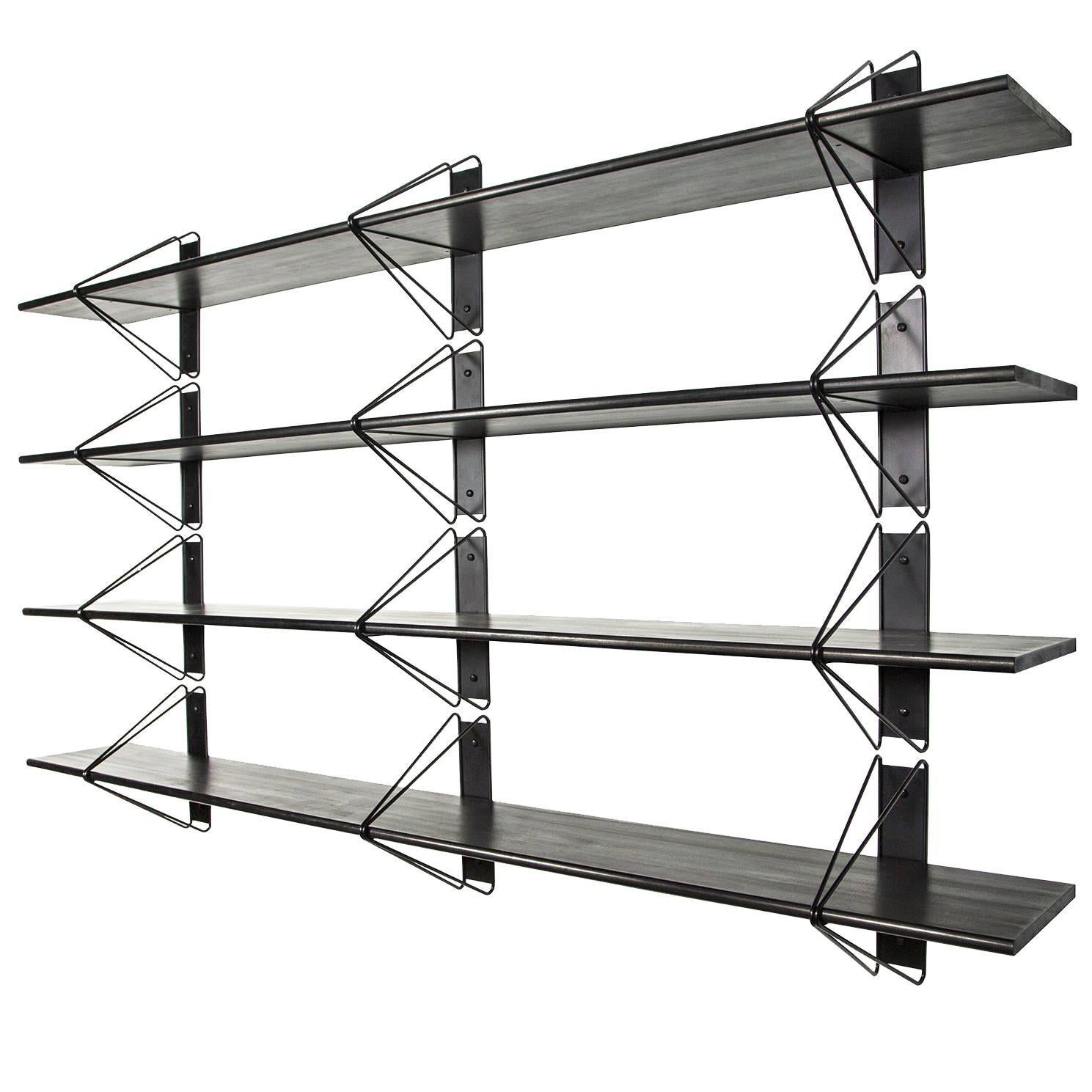 Customizable Set of 4 Strut Shelves from Souda, Black, Made to Order