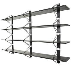Strut Shelving System, Modern Wood Wall Shelf with Black Brackets, Bookcase