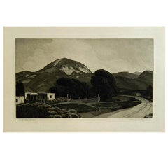 "Charles Capps Pencil Signed Original Etching, 1947, ""Into the Hills"""