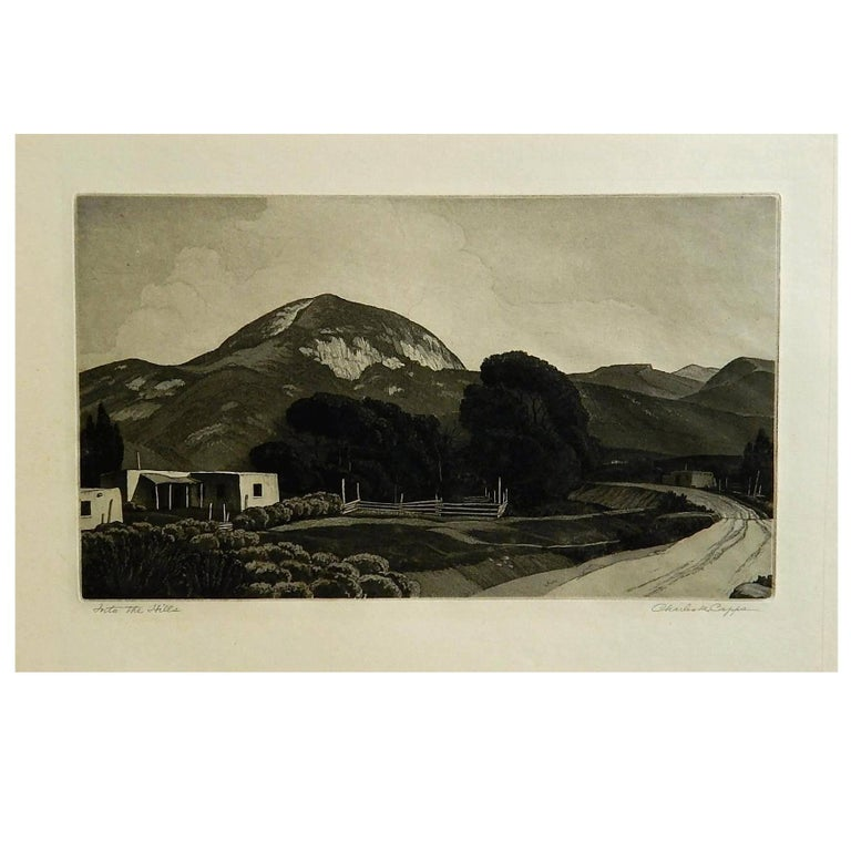 """Charles Capps Pencil Signed Original Etching, 1947, """"Into the Hills"""" For Sale"""