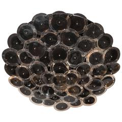 Flush Mount Vistosi Murano Disc Chandelier in Black and Clear Glass