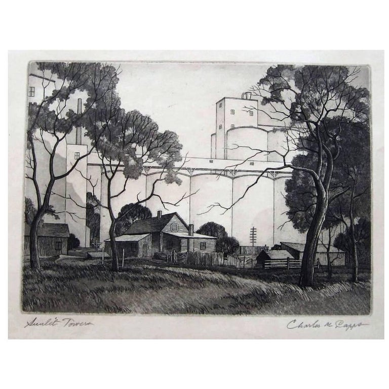 "Charles Capps Original Pencil Signed Etching, 1954, ""Sunlit Towers"" For Sale"