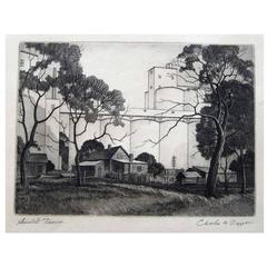 """Charles Capps Original Pencil Signed Etching, 1954, """"Sunlit Towers"""""""