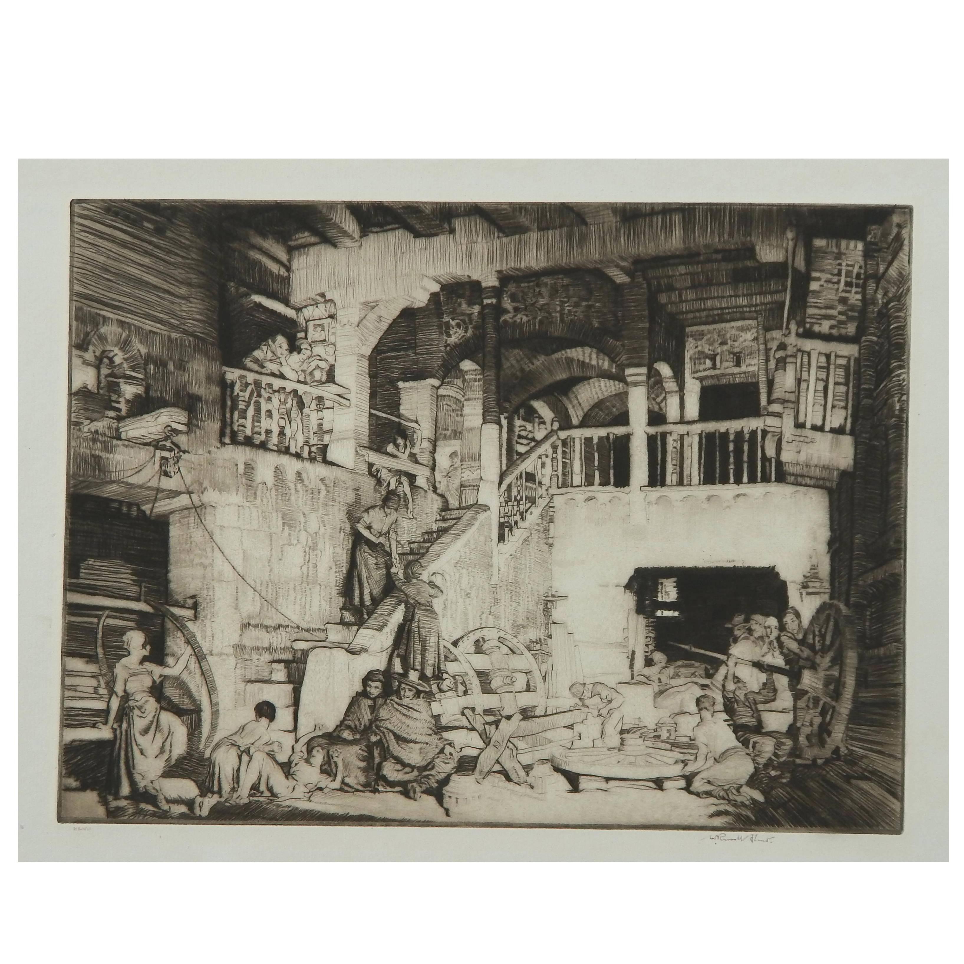 "Sir William Russell Flint Original Etching, 1931, ""The Wheelwrights"""