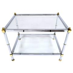 Vintage Chrome and Brass Side Table