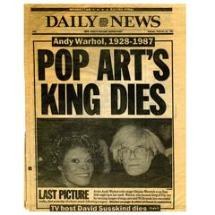 """Pop Art's King Dies"" a Rare Andy Warhol Collectible"
