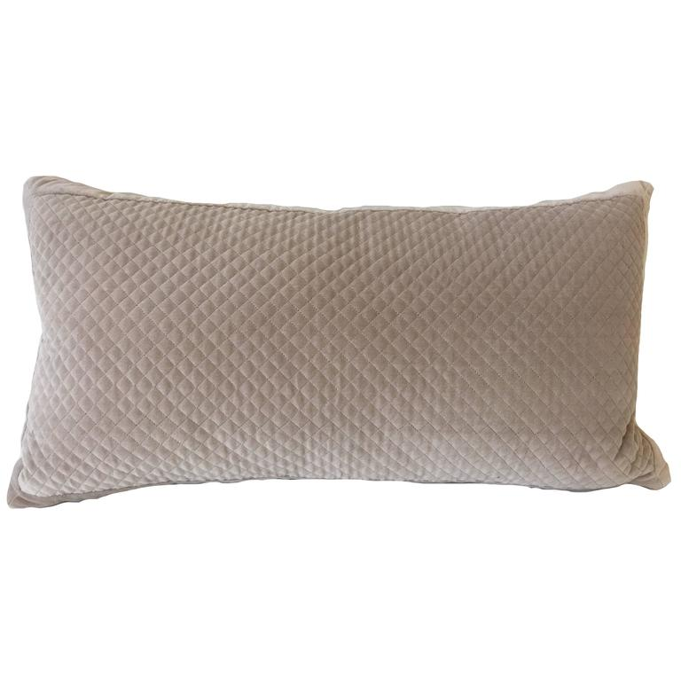 Modern Taupe Velvet Quilted Accent Pillow For Sale at 1stdibs