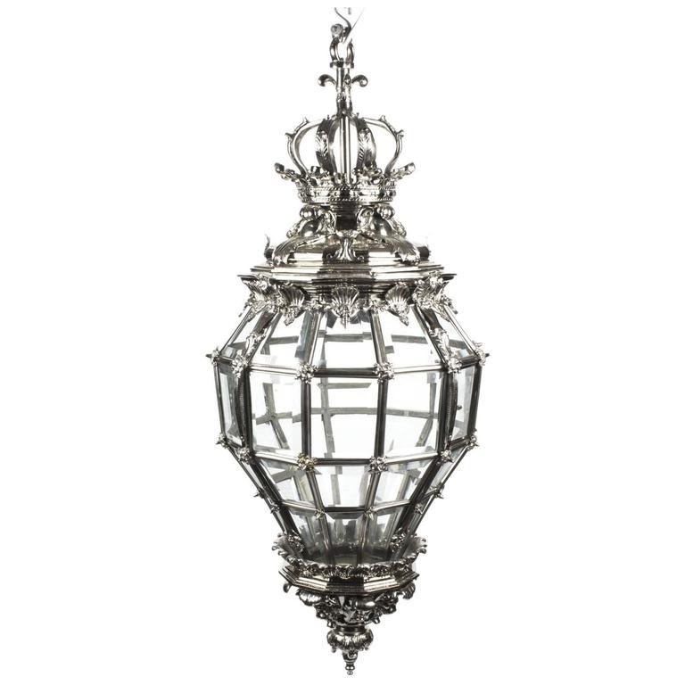 Huge Silvered Bronze Versailles Diamond Baluster Lantern