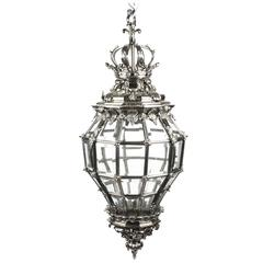 Huge Silvered Bronze Versailles Diamond Baluster Lantern