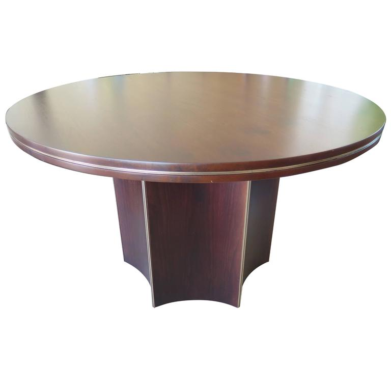 Unusual Center Table by McGuire with Brass Details 1