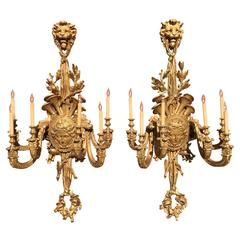 Palatial Pair of French 19th Century Louis XV Style Giltwood Carved Wall Lights