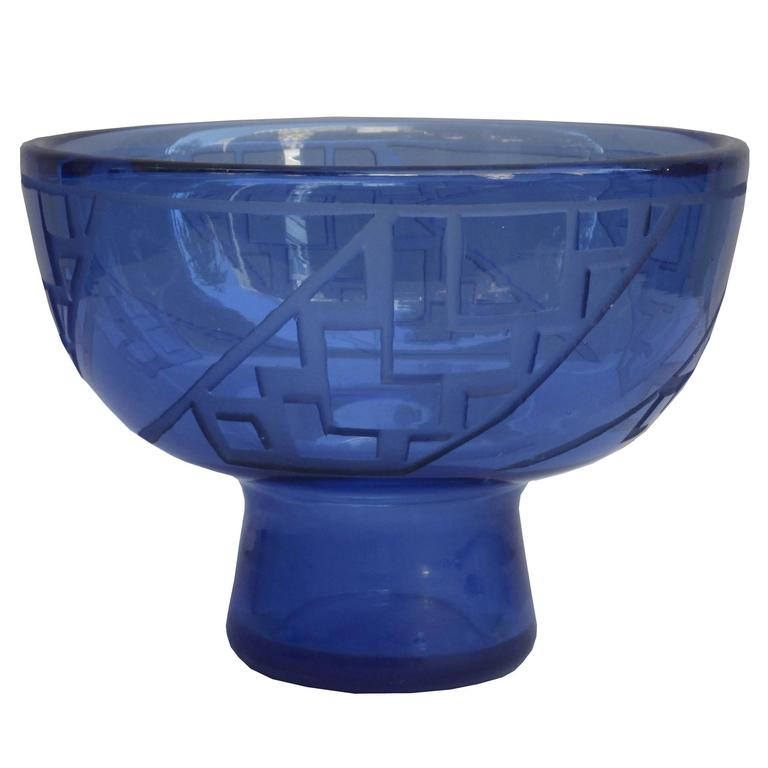 Glass Bowl by Mueller Frères