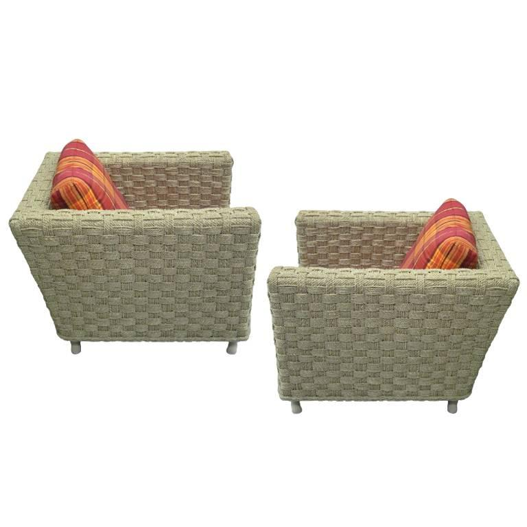 Pair of Mid-Century Modern Woven Rope Lounge Chairs Attributed to Audoux-Minet