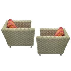 Pair French Mid-Century Modern Woven Rope Lounge Chairs Attributed Audoux-Minet