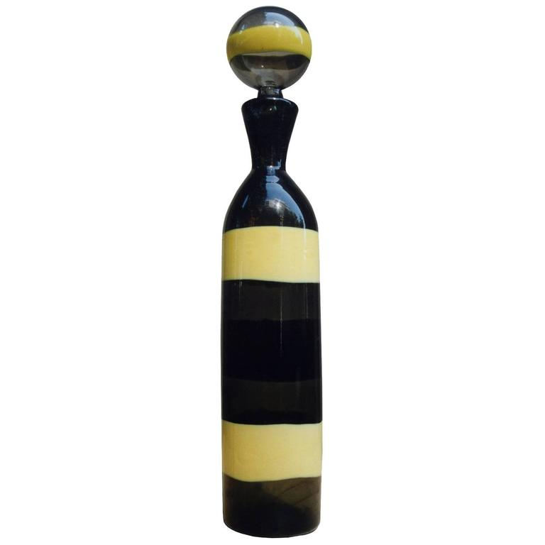 Venini Striped Glass Bottle by Fulvio Bianconi For Sale