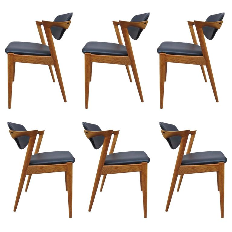 set of six kai kristiansen model 42 dining room chairs at