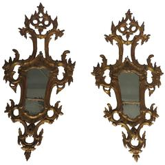 18th Century Large Pair of Rococo Giltwood Girandole Mirrors
