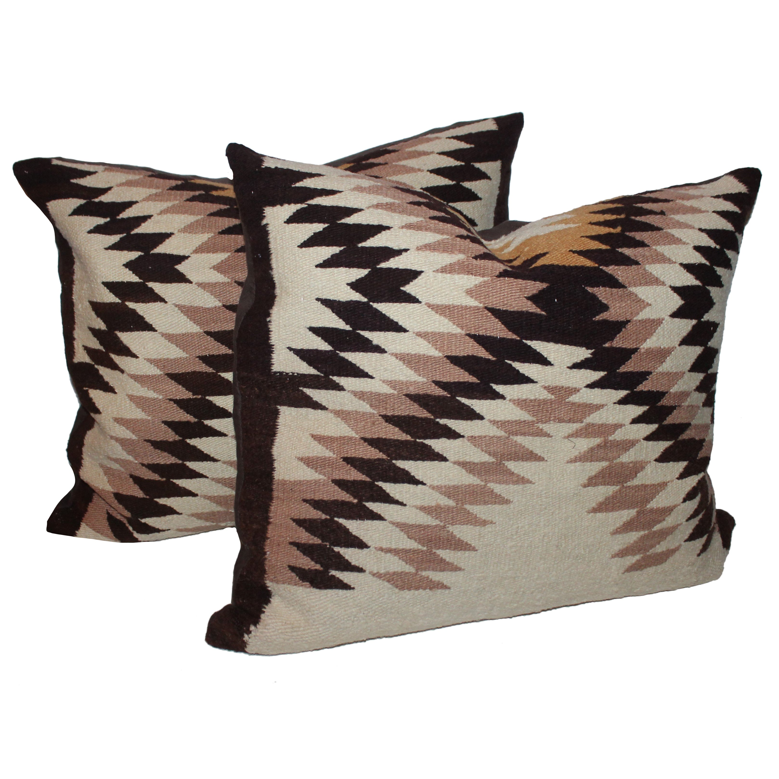 Pair of Eye Dazzlers  Navajo Indian Weaving Pillows