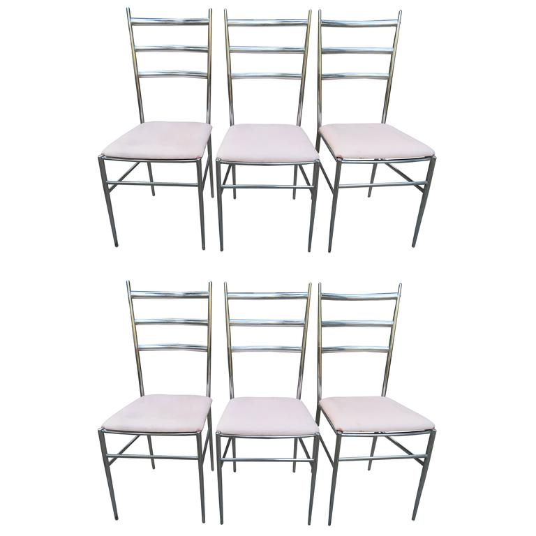 Six Chrome Ladder Back Dining Chairs in the Style of Gio Ponti Mid-Century, Set