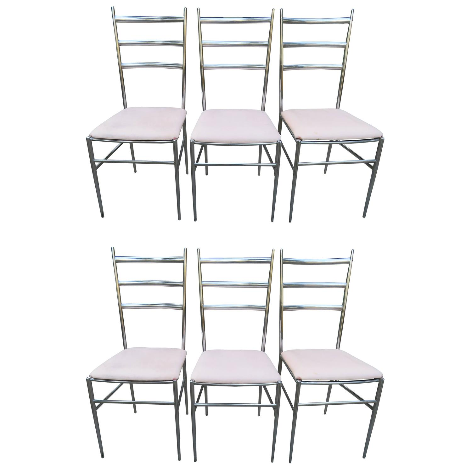 Six chrome ladder back dining chairs in the style of gio ponti mid century set for sale at 1stdibs - Ladder back dining room chairs ...
