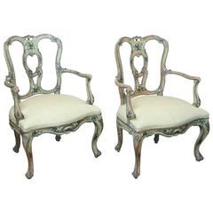 Pair of 18th Century Painted Venetian Armchairs