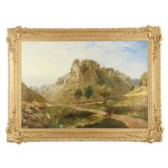 Substantial British Landscape Painting of Path through Mountains, 19th Century
