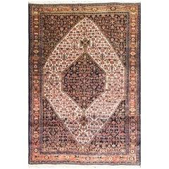 "Antique Persian Senneh Rug, 4'6"" x 5'10""."