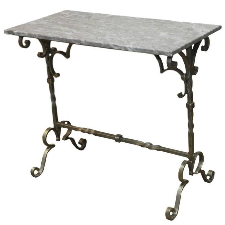 French Style Wrought Iron Marble Top Console Table For