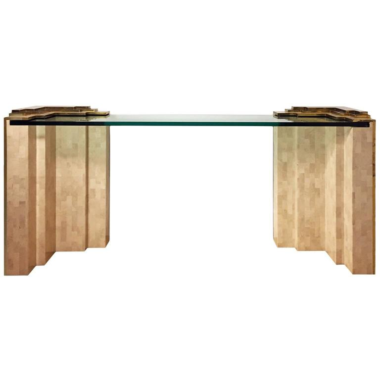1970s Tiered Tessellated Stone and Glass Console by Maitland-Smith  1