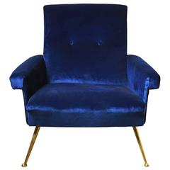 1960s Italian Button Back Club Chair in Blue Velvet