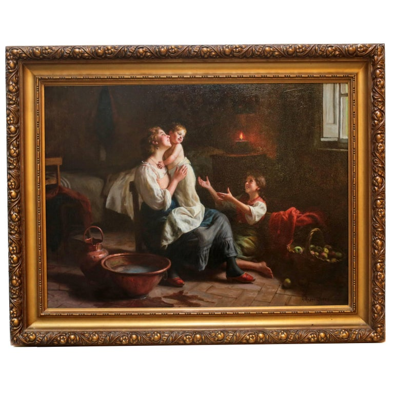 """Italian Oil Painting of an Interior Scene """"Bath Time"""" by Giuseppe Magni For Sale"""