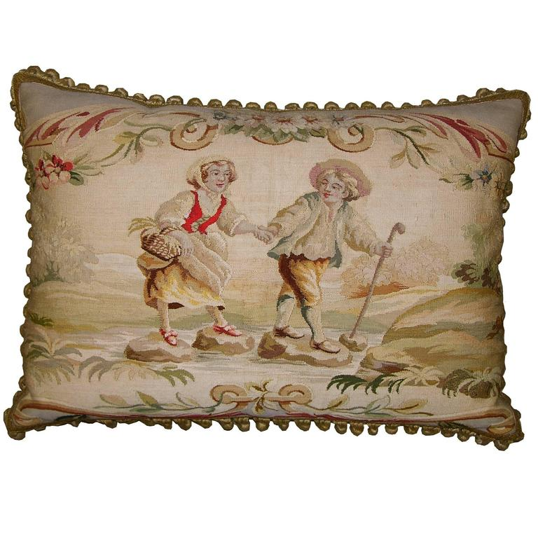 French Aubusson Tapestry Pillow, circa 1850 For Sale