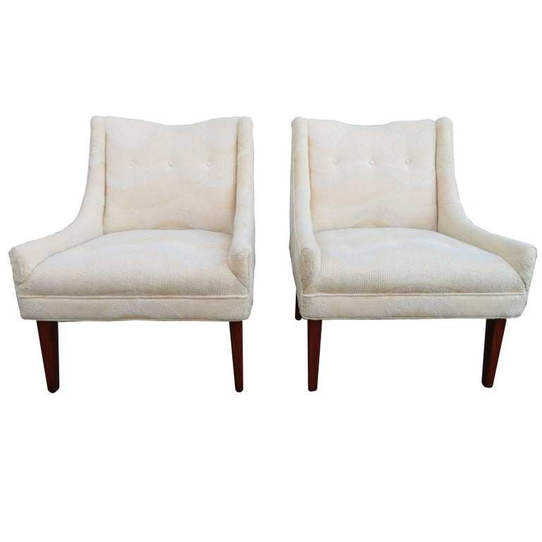 Pair of Slipper Lounge Chairs Mid-Century Modern For Sale
