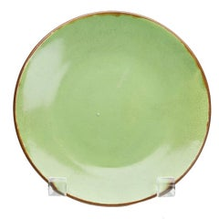 Charles Greber French Art Pottery Green Plate, circa 1899-1933