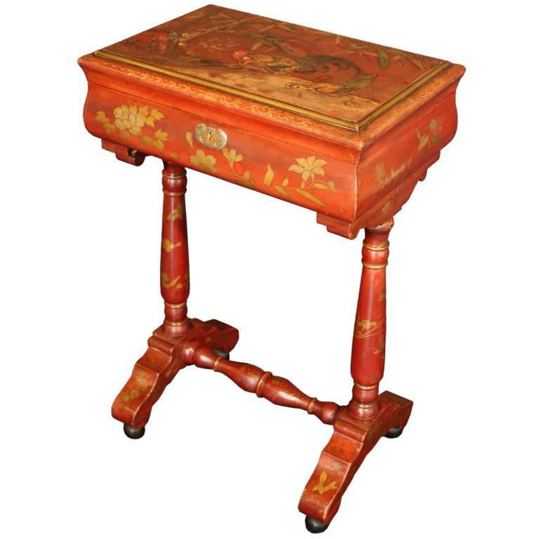 Japan-Lacquered Chinoiserie Table