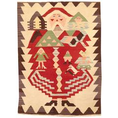 Vintage American Navajo Flat-Woven Rug, with Santa Claus Design, in Small Size