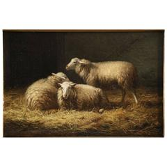Albert Smets Antique Oil Painting of Three Sheep in Barn, circa 1878