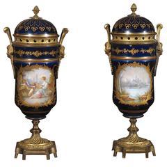 Pair of Antique Sevres Chateau des Tuileries Porcelain Lidded Urns
