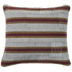Ashante African Pillow, Burgundy Red, Gray and Gold