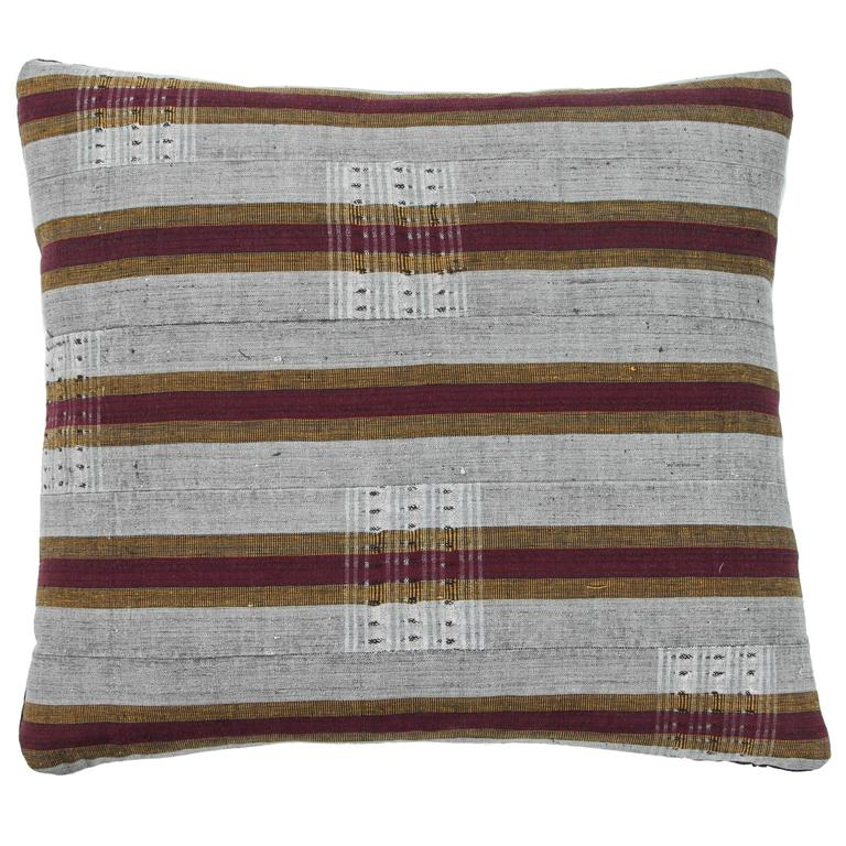 Ashante African Pillow, Burgundy Red, Gray and Gold For Sale
