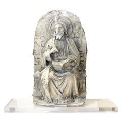 19th C. Belgian Plaster Master Altarpiece of St. Luke the Evangelist on Acrylic