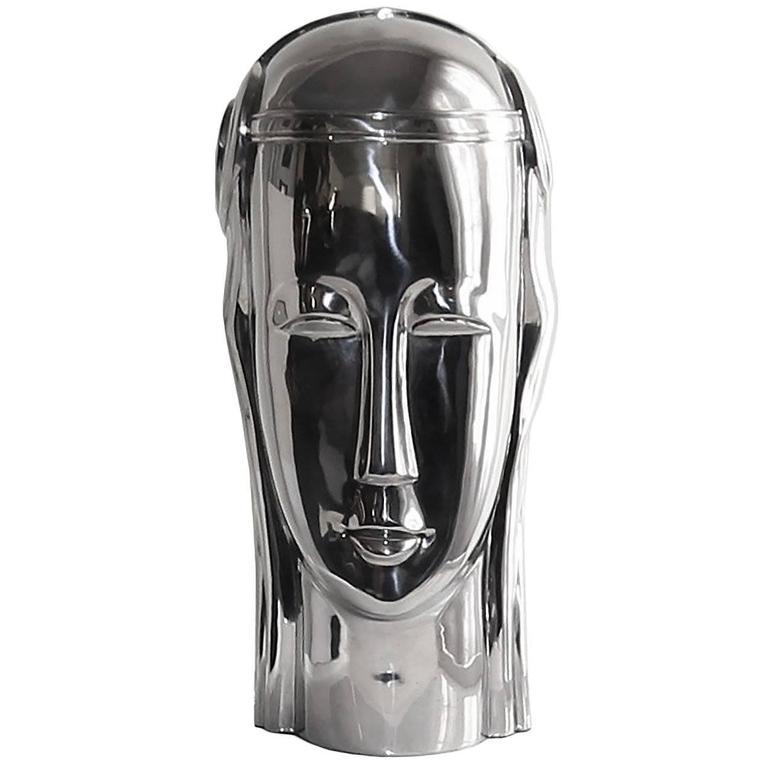 Art Deco Inspired Stainless Steel Bust of Roman Goddess