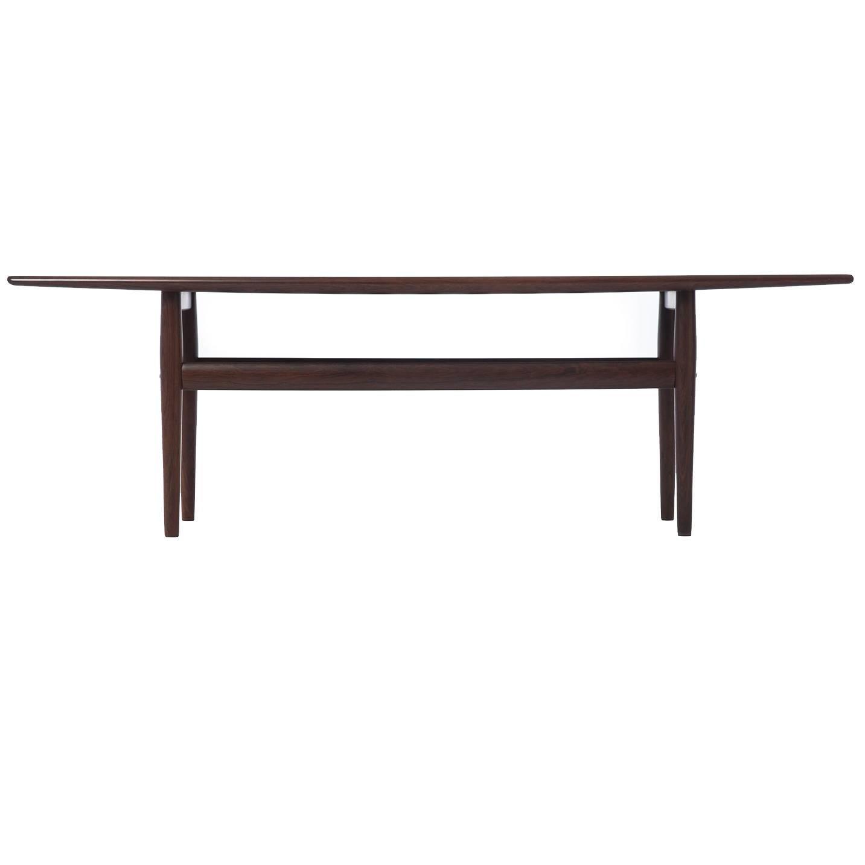 Danish Modern Rosewood Coffee Table with Shelf