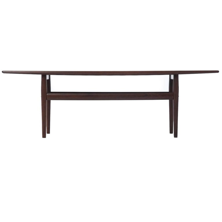 Danish Modern Rosewood Coffee Table with Shelf For Sale