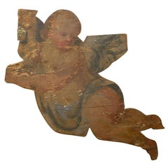 18th Century French Baroque Style Painted Wood Flying Cherub Wall Decoration