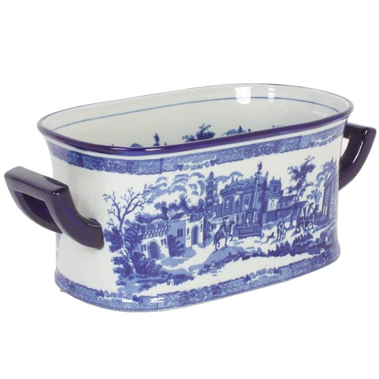 Blue And White Porcelain Staffordshire Style Oblong Planter For