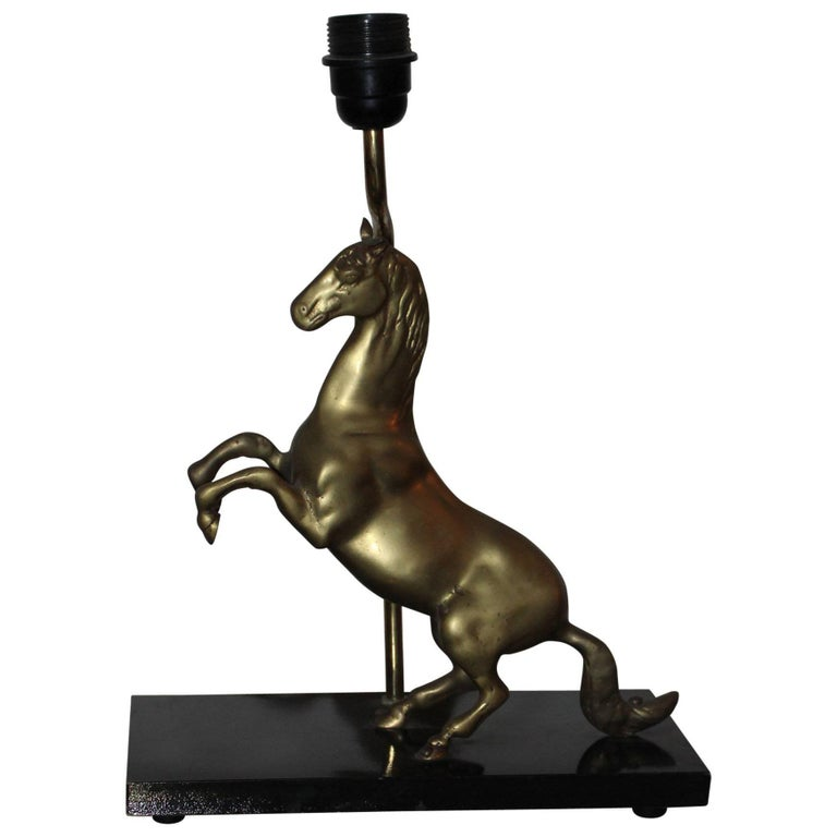 Brass Jumping Horse Table Lamp