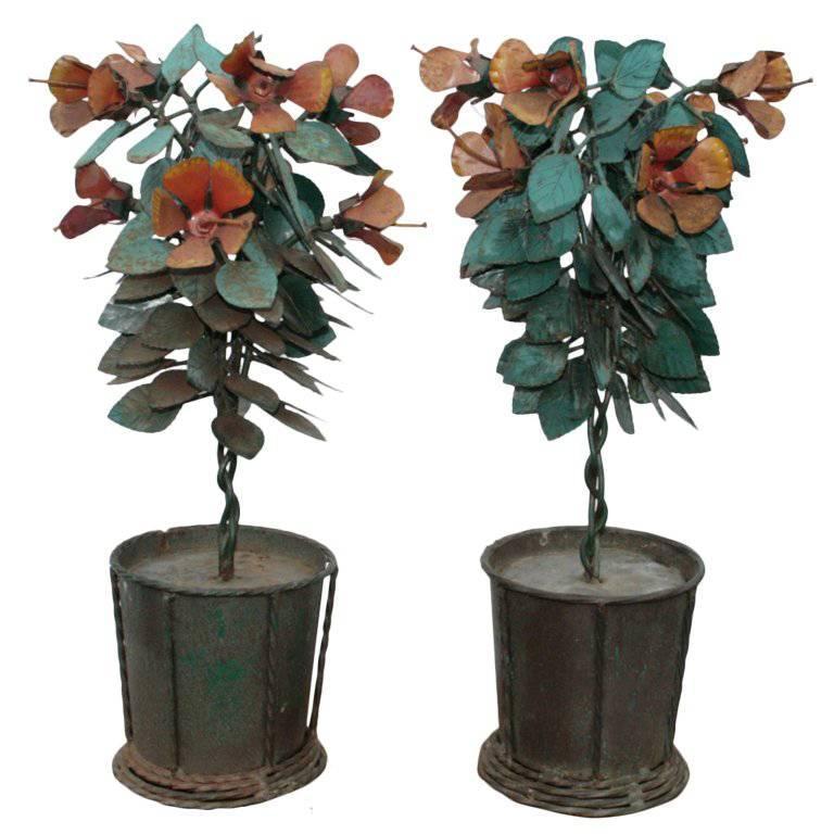 Pair of Brutalist Industrial Mid-Century Modern Iron Planter Table Sculptures
