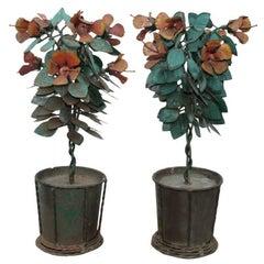 Pair Brutalist Industrial Mid Century Iron Planter Pot Table Statue Sculpture